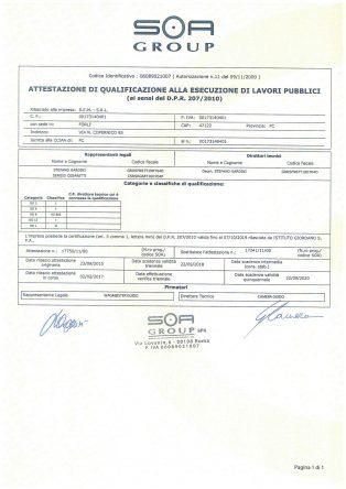 Certificato SOA pag. 1 di 2